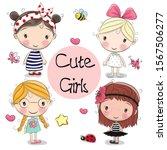 four cute cartoon girls on a... | Shutterstock . vector #1567506277