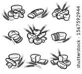 bread set. collection bread... | Shutterstock .eps vector #1567592944