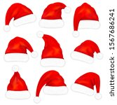 set of red santa claus hats...   Shutterstock .eps vector #1567686241