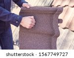 Sheet Of Polymer Roof Tiles. A...