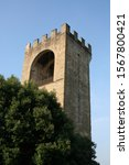 Small photo of Crenelated stone tower from Florence Italy seen with trees