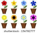 flowers in the pots  set . | Shutterstock .eps vector #156782777
