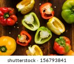 Group Of Colorful Peppers On...