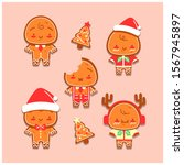 hand drawn gingerbread man... | Shutterstock .eps vector #1567945897