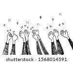 doodle hands up  hands clapping.... | Shutterstock .eps vector #1568014591