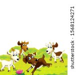 cartoon farm scene with animal... | Shutterstock . vector #1568124271