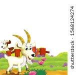 cartoon farm scene with animal... | Shutterstock . vector #1568124274