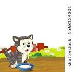cartoon scene with cat having... | Shutterstock . vector #1568124301