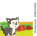 cartoon scene with cat having... | Shutterstock . vector #1568124304