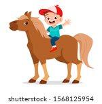 happy cute kid boy riding cute... | Shutterstock .eps vector #1568125954