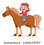 happy cute kid girl riding cute ... | Shutterstock .eps vector #1568125957