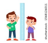 happy cute kid boy measure... | Shutterstock .eps vector #1568126011