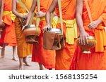 Close Of Buddhist Novice Monks...