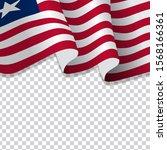 waving flag of liberia.... | Shutterstock .eps vector #1568166361
