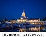 seaport in night lights in the... | Shutterstock . vector #1568196034