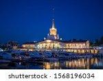seaport in night lights in the... | Shutterstock . vector #1568196034