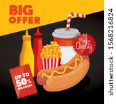 poster big offer of fast food... | Shutterstock .eps vector #1568216824