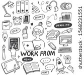 work from home concept doodle... | Shutterstock .eps vector #1568231551