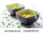 two bowls of noodle soup with...   Shutterstock . vector #156828554