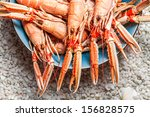 Fresh scampi served on the beach in a blue bowl - stock photo