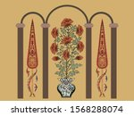 Border Design With Vase And...