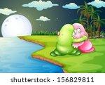 illustration of a green monster ... | Shutterstock .eps vector #156829811