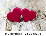 two red hearts on wooden...   Shutterstock . vector #156830171