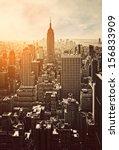 Stock photo sunset in manhattan new york usa 156833909
