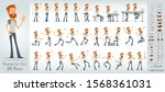 cartoon flat cute funny redhead ...   Shutterstock .eps vector #1568361031