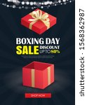 boxing day sale with red gift...   Shutterstock .eps vector #1568362987