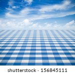 Blue Tablecloth Backgound  Wit...