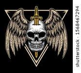 skull wing badge vector... | Shutterstock .eps vector #1568467294