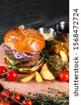 fresh meat burger with fries... | Shutterstock . vector #1568472724