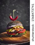 fresh meat burger with chilly... | Shutterstock . vector #1568473741