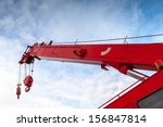 red truck crane boom with hooks ... | Shutterstock . vector #156847814