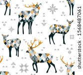 christmas seamless pattern with ... | Shutterstock .eps vector #1568487061