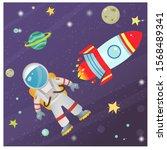 color image of cartoon rocket... | Shutterstock .eps vector #1568489341