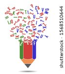 pencil and chaotic scattered... | Shutterstock .eps vector #1568510644