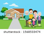 big family in the background of ... | Shutterstock .eps vector #1568533474