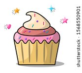 cupcake design for any purposes.... | Shutterstock .eps vector #1568550901