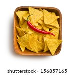 top view of tortilla chips with ... | Shutterstock . vector #156857165