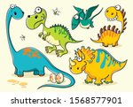 set of isolated funny cartoon... | Shutterstock .eps vector #1568577901
