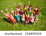 large group of happy kids  boys ... | Shutterstock . vector #156859424