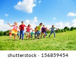 boys and girls in large group... | Shutterstock . vector #156859454