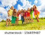large group of happy cute girls ... | Shutterstock . vector #156859487