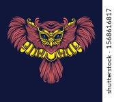 owl art illustration on dark... | Shutterstock .eps vector #1568616817