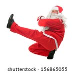 dancing santa claus isolated on ... | Shutterstock . vector #156865055