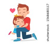 happy cute kid girl hugging dad ... | Shutterstock .eps vector #1568680117