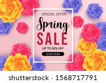 spring sale banner with border... | Shutterstock .eps vector #1568717791