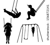 girl on a swing silhouettes | Shutterstock .eps vector #156872141